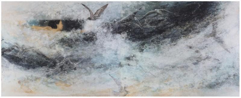 The Beginning 130 x 324cm  han-ji on canvas 2020